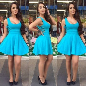Vestido Azul turquesa com ilhos