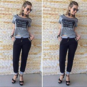 Conjunto T-Shirt Malha E Calça Preta Moletom com tachinhas