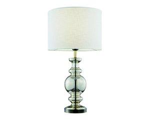 Abajur em metal com vidro e cúpula em tecido branco - 5724 Mart Collection