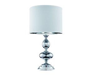 Abajur em metal com vidro e cúpula em tecido branco - 5718 Mart Collection