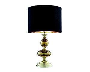 Abajur em metal com vidro e cúpula em tecido preto - 5719 Mart Collection