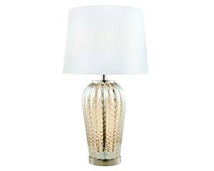 Abajur em metal com vidro e cúpula em tecido branco - 6566 Mart Collection