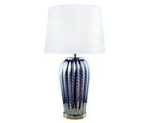 Abajur em metal com vidro e cúpula em tecido branco - 6567 Mart Collection