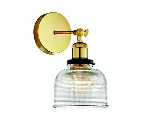 Arandela em vidro transparente e soquete dourado - 6619 Mart Collection