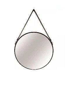 Espelho Redondo Grande em Metal Preto com Alça Cinta para Fixação - 7292 Mart