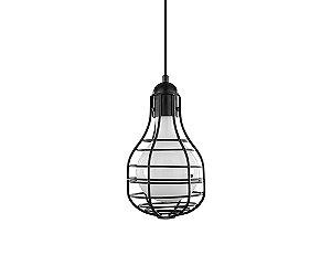 Pendente em metal preto com vidro interno branco - 5152 Mart Collection