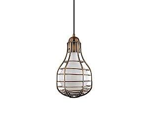 Pendente em metal cobre com vidro interno branco - 5154 Mart Collection