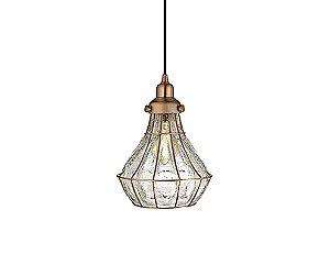 Pendente em metal e vidro craquelado cobre - 5158 Mart Collection