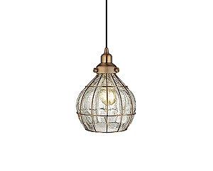 Pendente em metal e  vidro craquelado cobre - 5159 Mart Collection