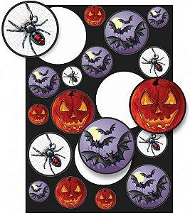 Adesivos Diversos - Decoração - Festa Halloween - 18 Un - Catelândia