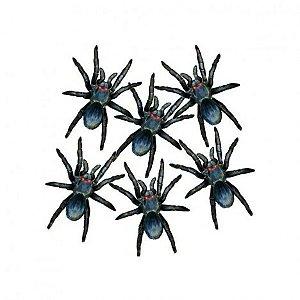 Aranhas - Decoração - Festa Halloween - 06 Un - 17cm cada - Catelândia