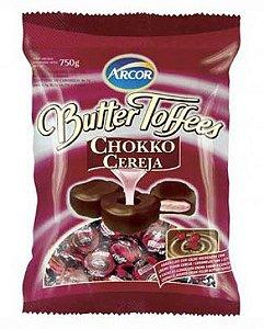 Bala Caramelo com Cacau e Recheio Cereja Butter Toffees Chokko 600g - Arcor