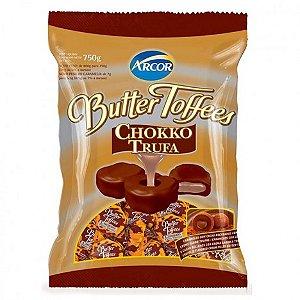 Bala Caramelo com Cacau Recheada Creme Sabor Trufa Butter Toffees 600g - Catelândia