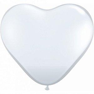 Balão Coração Branco 50 Un - São Roque