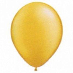 Balão Série Cintilante Dourado Cores Metálicas n° 07 Pacote 50 Un - São Roque