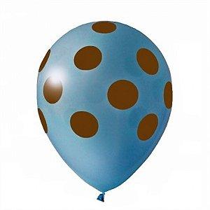 Balões Poá Azul com Bolinhas Marrom 11 Polegadas 25 Un - Catelândia