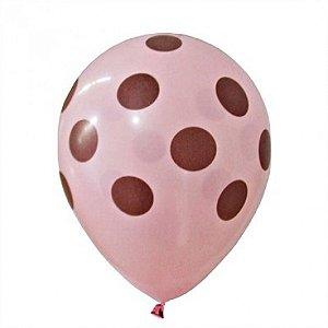 Balões Poá Rosa com Bolinhas Marrom 11 Polegadas 25 Un - Catelândia