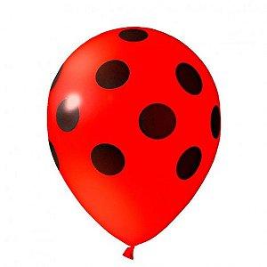 Balões Poá Vermelho com Bolinhas Pretas 11 Polegadas 25 Un - Catelândia