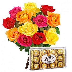 Buquê de Rosas Artificiais Coloridas Com Bombons Ferrero Rocher