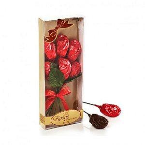 Buque de Rosas de Chocolate Belga Callebaut para Presente - 6 Rosas