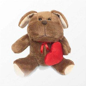 Cachorro de Pelúcia Macio com Coração 20 cm - Catelândia