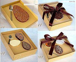Caixa Dourada Metalizada para Ovo de Colher de 350 Gramas  - Leve Grátis A Colher