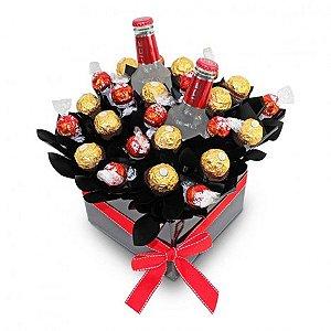Cesta De Chocolate Criativa com Lindt, Ferrero Rocher e Smirnoff Ice