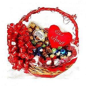 Cesta De Chocolate Para Presente, Dia dos Namorados, Coração Ferrero e Trufas