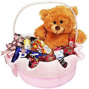 Cesta de Chocolates com Pelúcia e Bombons para Namorada