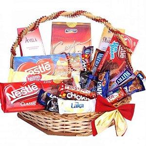 Cesta de Páscoa Premium - Diversos Chocolates - Catelândia