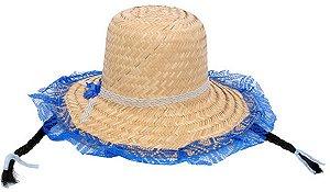 Chapéu Renda Azul Trança Preta para Festa Junina - Catelândia