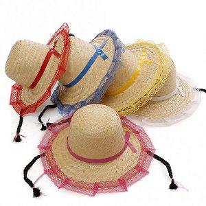 Chapéu Renda Branca Trança Preta para Festa Junina - Catelândia