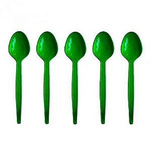 Colher de Plástico para Sobremesa 50 Und Verde - Catelândia