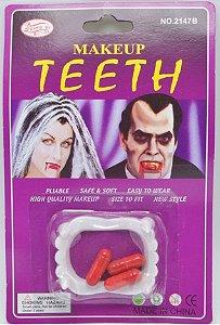 Dentes de Vampiro com 03 Cápsulas de Sangue Vampire Teeth - Catelândia