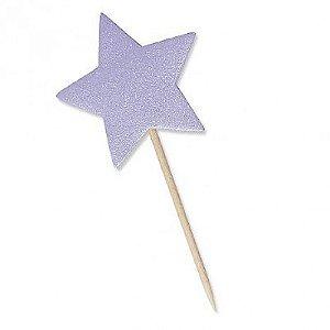 Estrela Roxa com Glitter para Lembrancinha 10 Un - Catelândia