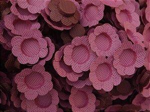 Forminhas para Docinhos Rosa Com Bolinha Marrom 50UN
