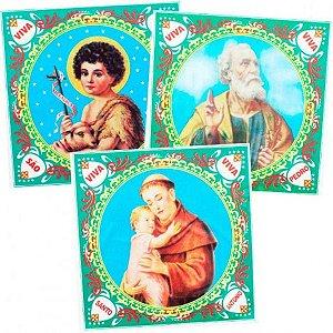 Kit com 3 Panos De Santo em Tecido para Festa Junina 45 cm Cada - Catelândia