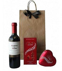 Kit Noite Romântica, Chocolates Lindt e Vinho Chileno
