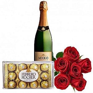 Kit Romântico Para Namorados, Rosas Artificiais, Chocolate e Espumante