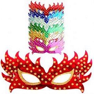 Máscara Carnaval Holográfica com Glitter 10 Un - Catelândia
