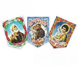 Painel Junino Papel Kraft Decoração Festa Junina 3 Santos 45 cm Cada - Catelândia