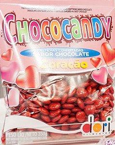 Pastilhas Sabor Chocolate Formato Coração Vermelho 350g - Catelândia