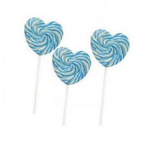 Pirulito Psicodélico Formato Coração Azul 6,5 cm Diâmetro 15 Un - Catelândia