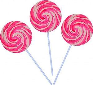 Pirulito Psicodélico Rosa e Branco Diâmetro: 8 cm Altura: 20 cm 15 Unidades - Catelândia