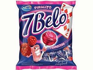 Pirulitos 7 Belo com Recheio Mastigável Framboesa 50 Un - Catelândia