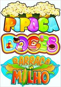 Placas para Barraquinhas de Festa Junina 3 Nomes Pipoca, Doces e Barraca do Milho - Catelândia