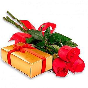 Presente Criativo para Namoradas Rosas Artificiais e Bombom Fino com Licor