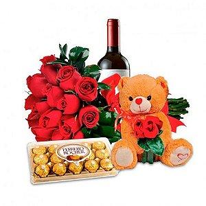 Presente Especial Dia Dos Namorados Rosas Artificiais, Pelúcia, Vinho e Bombons