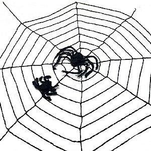 Teia de Aranha Vazada na Cor Preta para Decoração Halloween - Catelândia
