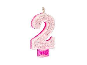 Vela de Aniversário com Glitter Número 2 Rosa - Catelândia